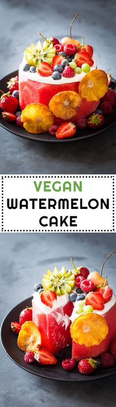 There is no better summer birthday cake or summer dessert in general than this Vegan Watermelon Cake! No baking, no cooking, no extra heat in the kitchen.