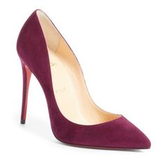 Women's Christian Louboutin Pigalle Follies Pointy Toe Pump ($675) ❤ liked on Polyvore featuring shoes, pumps, burgundy suede, burgundy pumps, burgundy suede shoes, suede pointed-toe pumps, high heel stilettos and red sole pumps
