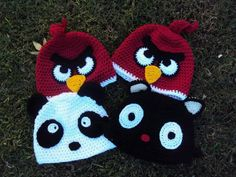 Crochet hat. Angry birds, Sanrio kitty/cat and panda.