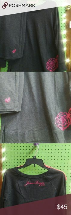Sweatshirt and Pants Set Charcoal gray with pink glitter writing and flower. Pants are like boyfriend style. Joan Boyce from HSN is the designer. This was $110 when I bought it. I wore it once and loved it just never get to wear it. Joan Boyce Tops Sweatshirts & Hoodies