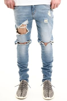 Image of ANKLE/LEG ZIP DISTRESSED WASHED BLUE JEANS