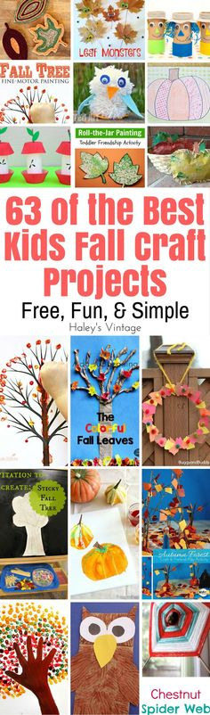 Fall is a great time to explore nature with your younger kids! You can help them to enjoy this season even more with these Kids Fall Craft Projects. With 63 free craft projects, you'll be able to find projects all of the kids will love! Autumn Activities For Kids, Autumn Crafts, Fall Crafts For Kids, Craft Projects For Kids, Nature Crafts, Thanksgiving Crafts, Toddler Crafts, Preschool Crafts, Holiday Crafts