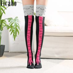 c39baab99bd7 Vicabo Girls Autumn Winter Funny Socks Cartoon Animals Chicken Toe Feet Thigh  Stockings Women Fashion Print
