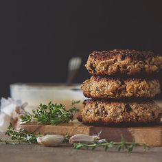 Mushroom Quinoa Burgers (changes: Add one can of mashed white beans, replace eggs with flax eggs)