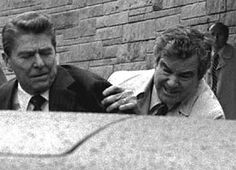 Reagan assassination attempt--3/30/81.  These days, his would-be assassin, John Hinckley, Jr. is released for periods of up to 10 days supervised by his mother and GPS monitoring.