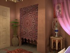 Bedroom. Bedroom. Wonderful Decoration Moroccan Room Design. Moroccan Bedroom Come Some Styles Moroccan Themed Bed With Beautiful Curtain And Beige Wall Plus Pink Curtain Along With Plant On Corner Room As Well As Granite Floor Plus Smoke Equipment On Octagon Table. Moroccan Room. Wonderful Decoration Moroccan Room Design