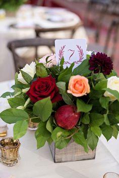 A Rustic & Romantic Rose & Apple Centerpiece   Kristen Weaver Photography