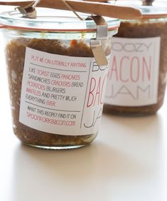 Bacon Jam holiday gift with diy labels.