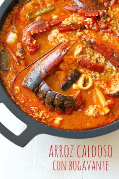 Arroz caldoso con bogavante Savoury Dishes, Spanish Cuisine, Spanish Dishes, Spanish Food, Rice Recipes, Seafood Recipes, Risotto, Kitchen Recipes, Cooking Recipes