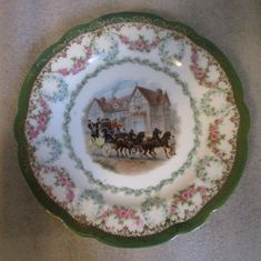 "HTF SGD IMPERIAL CROWN CHINA AUSTRIA 6"" CABINET PLATE HORSE DRAWN COACHING SCENE #CoachingScene"