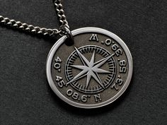 Custom Engraved Necklace, Personalized Necklace, Custom Necklaces, Custom Jewelry, Thoughtful Gifts For Her, Gifts For Him, Buying Your First Home, Compass Rose, Engraved Gifts