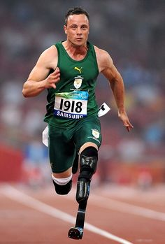 "Oscar Pistorius.  ""You're not disabled by the disabilities you have, you are able by the abilities you have."""