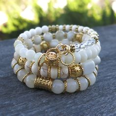 White and gold Dreams Memory Wire Bracelet - made with Gemstones and Gold Plated beads, spacers and charms Bead Jewellery, Dainty Jewelry, Stone Jewelry, Beaded Jewelry, Dainty Necklace, Memory Wire Bracelets, Handmade Bracelets, Jewelry Bracelets, Handmade Jewelry