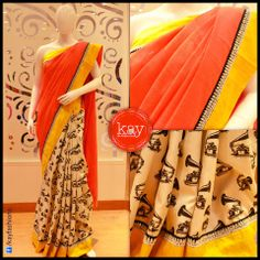 Another of our Masaba collection! Gramophone design at the bottom with a subtle orange and yellow border saree.  Would you love to wear this?  http://www.kayfashions.in/#!/ #fashion #indian #weddings #bridal #lehenga #ghagra #anarkali #salwar #designer #ethnic #boutique #chennai #shopping #triplicane #dress #clothes #traditional #saree #sari #silksaree