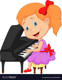 Illustration about Illustration of Cute cartoon little girl playing piano. Illustration of child, classical, cartoon - 33243432 Cartoon Cartoon, Girl Cartoon Characters, Cartoon Drawings, Little Girl Cartoon, Cute Little Girls, Cute Kids, Playing Piano, Kids Playing, Baby Girl Clipart