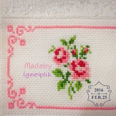 Discover thousands of images about Cross stitch floral towel İnstagram:madebyigneiplik Cross Stitch Boards, Cross Stitch Rose, Cross Stitch Flowers, Cross Stitch Kits, Cross Stitch Designs, Cross Stitch Patterns, Cross Stitching, Cross Stitch Embroidery, Cross Stitch Kitchen