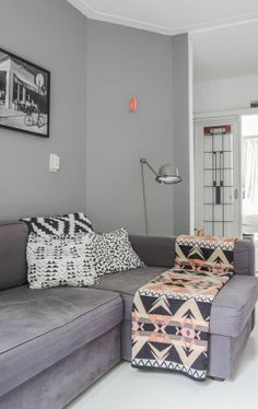 Pale Grey Modular Sofa With Pink And Throw For Warmth Might Add A Dark