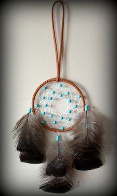Brown Suede  Dream Catcher with turquoise by DreamySummerNights, $6.00