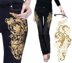 Get inspired by these stunning gold embroidered jeans from Versace and see how you can get a similar look for a lot less with your embroidery machine. Could also do with gold fabric paint and a stencil Embellished Jeans, Embroidered Jeans, Denim Fashion, Fashion Outfits, Womens Fashion, Denim Art, Diy Vetement, Urban Threads, Denim Ideas