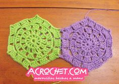 Joining crocheted circles to hexagons. The site for learning how to make these awesome circles to hexagons is here:  http://blog.acrochet.com/tutorial/de-circulo-a-hexagono-video-tutorial.html?utm_source=feedburnerutm_medium=emailutm_campaign=Feed%3A+Acrochet+%28Blog+Acrochet%29