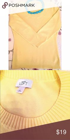 """♦️ LOFT buttercup yellow 3/4 sleeve sweater Measures approx 25"""" long, 13"""" sleeve, & 18"""" across chest. 100% soft pima cotton. 🍁Very lightweight sweater material and perfect for Fall!🍁 Size small. Flawless condition. 🔴Bundle to save! 🔴NO TRADES, no modeling. 🔴REASONABLE offers welcome via offer button. LOFT Sweaters Crew & Scoop Necks"""