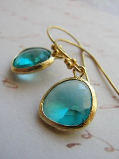 Gold and teal earrings on gold vermeil wires by OliveYewJewels, $27.00