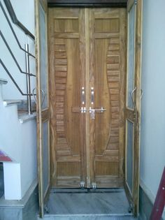 Door Design Gallery 20 | LSWORLD Wooden Main Door Design, Double Door Design, Wood Design, Wood Front Doors, Entry Doors, Front Entry, Net Door, Plastic Bottle Crafts, Woodworking Techniques