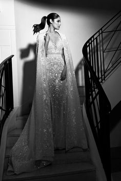 A-line with intricate beading. Cape featured in photograph is not available at Kleinfeld. | Zuhair Murad| Style: VALENTINE