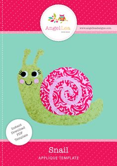 Snail applique pattern PDF download. Cute snail applique template.