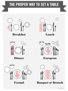 Funny pictures about The proper way to set a table. Oh, and cool pics about The proper way to set a table. Also, The proper way to set a table. Comment Dresser Une Table, Life Hacks, Dining Etiquette, Table Setting Etiquette, Wedding Etiquette, Table Manners, Deco Table, Decoration Table, Dinner Party Decorations