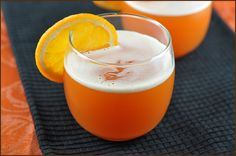 Halloween Punch - 3 ingredients: pineapple juice, orange sherbet, and orange soda.