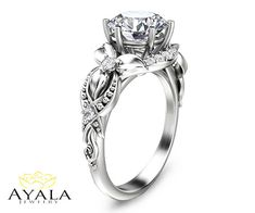 14K White Gold Diamond Engagement Ring Unique by AyalaDiamonds