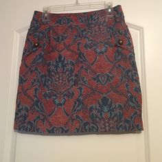 Tulle brand Skirt Burnt orange/blue skirt. Very flattering fit and cute button detail. Has pockets Tulle Skirts