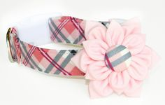 Dog Collar Flower Set: Pink Plaid Fabric Dog Collar with Flower. $26.50, via Etsy.