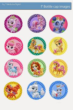 "Free Bottle Cap Images: Disney Palace pets and princess free digital bottle cap images 1"" 1inch"