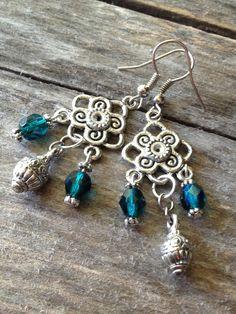 Teal Chandelier Earrings Handmade Bohemian by TheHippieBohemian, $19.00
