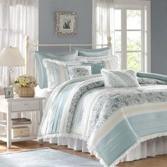 Refresh the master suite or guest room with this lovely bedding, perfect paired with crisp sheets and plush pillows to craft a peaceful retreat.
