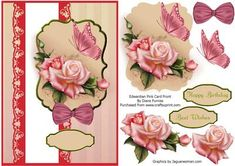 Edwardian Pink Card Front on Craftsuprint designed by Diane Furniss - A Lovely Card Front with a Step by Step to make up.This Quick and Easy card will please all, and can be used for Many Occasions. This design, like all my designs are exclusive to CUP - Now available for download!
