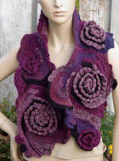 Crochet Scarf - Capelet. Unique scarf made Freeform method. Warm and pleasant to the touch. Beautiful unique design. Color: shadows purple, black One of a kind  Size: one size fits all about: 120/24 cm 47,24/9,45  materials used: 30% wool, 70% acrylic  Care instruction: hand wash using warm water.  Because of different monitors and screen resolutions, colors may look different on the screen than really.