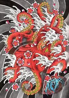Back Piece Tattoo, Pieces Tattoo, Japanese Tattoo Designs, Japanese Tattoos, Octopus Art, Back Pieces, Japanese Art, Rooster, Tattoo Ideas