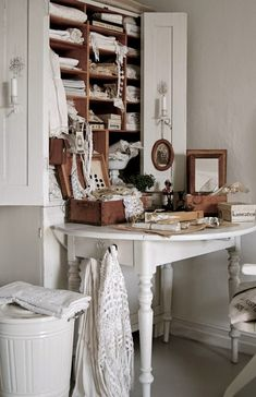 Love the cabinet above the desk