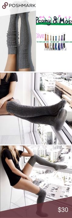 Charcoal Marled Thigh High High Socks Thigh high socks in a marled yarn of charcoal grey and black twisted yarn.   One pair pack.  Women's one size.  Beautiful socks designed in Seattle.  Made on specialty sock knitting machines.  Made in USA  53% soft, absorbent cotton, 1%nylon for shape, 1% spandex for stretch.  Machine wash, do not dry clean or bleach. Peony and Moss Accessories Hosiery & Socks