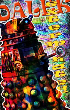 Doctor Who modern interior Pop Art illustration in by Mark Compton - HappyWallArt Dr Who Tattoo, Doctor Who Art, Pop Art Illustration, Dalek, Art Prints For Sale, Tardis, Picture Tattoos, Artist At Work, Fine Art America