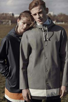Imagen and Lewis both wear Unisex Stripe Raincoat by Stutterheim x Whistles