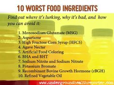 10 WORST FOOD INGREDIENTS... Agave Nectar: a highly processed sweetener derived from the agave plant.    Why is it BAD? Many consumers believe agave syrup is a healthful sweetener...it's anything but. Agave nectar contains the highest amount of fructose (55-97%) among all the commercial sweeteners, including HFCS (which averages 55% fructose).    It's found in: ice cream, energy bars and cereals, ketchup, and other sauces. It's also sold as standalone sweetener. (Click the link for more…
