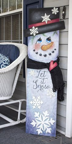 me ~ Snowman Tall Porch Sign - Pattern Packet - Patricia Rawlinson Christmas Wood Crafts, Christmas Porch, Snowman Crafts, Christmas Snowman, Christmas Projects, Holiday Crafts, Christmas Ornaments, Wood Snowman, Snowman Faces