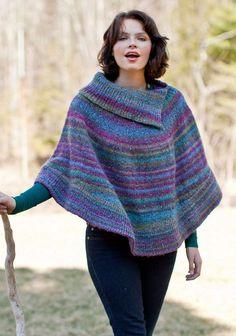 Free knitting pattern for Flutterwheel Poncho