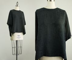 90s Vintage Black Silk Floral Slouchy Tunic Blouse / by decades