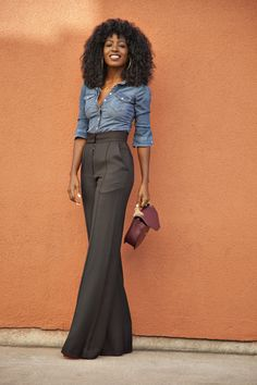 Love the high-waist pants. (But I'd have the pockets removed to show a sleek front)