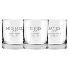 4 Whiskey Glasses Rocks Glass Engraved by EverythingDecorated, $39.96